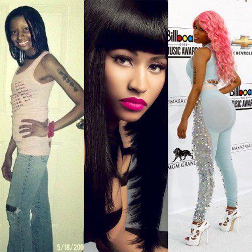 """Nhìn lại bức ảnh xưa cũ của nữ rapper Nicki Minaj ai nấy đều phải giật mình bởi cái thời tuổi teen Nicki khác hẳn với bây giờ, vòng 1 và vòng 3 xẹp lép, khuôn mặt đen đuốc xấu xí. Còn hiện tại, nữ rapper là một trong những ngôi sao có vòng 1 và 3 khủng nhất Hollywood. Điểm mặt sao Hollywood nóng bỏng hơn nhờ """"dao kéo"""""""
