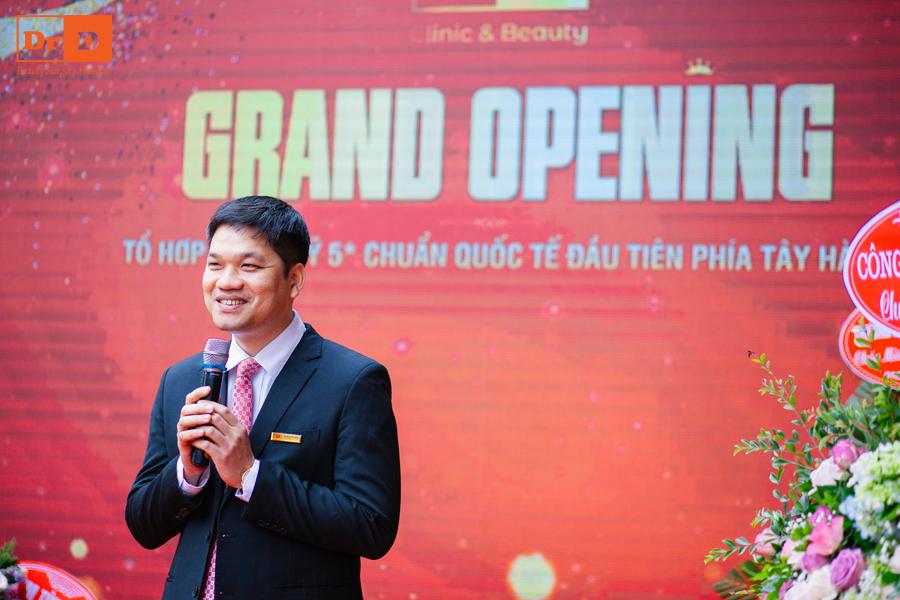 Thạc sĩ, Bác sĩ Lê Hữu Điền phát biểu trong ngày khai trương cơ sở II Thẩm mỹ DrD